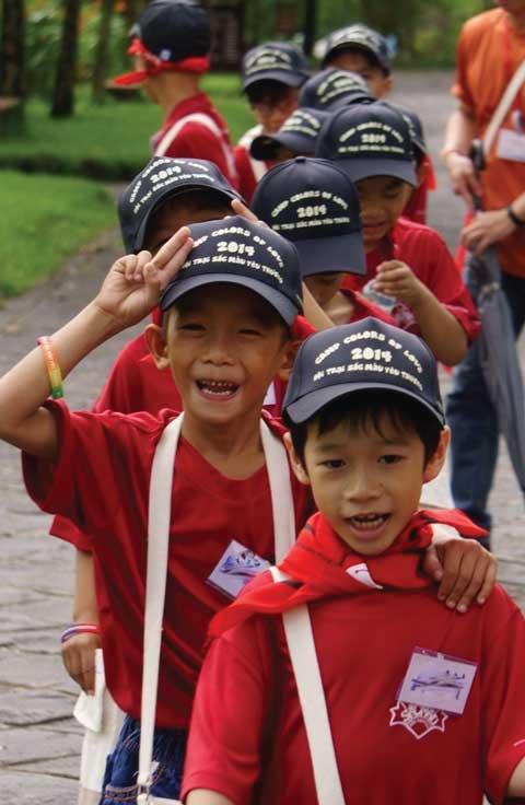Children walking to activity